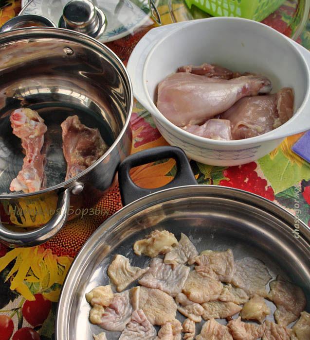 разделка куриного окорочка