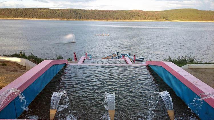 вот каким был каскад фонтанов с бассейнами, а в реке действовал плавучий фонтан