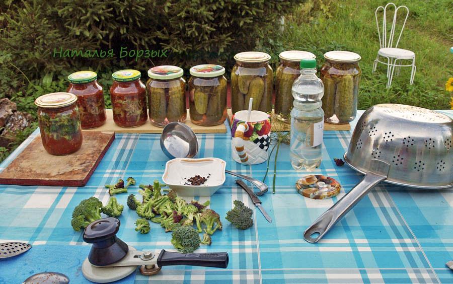 брокколи в томате и огурцы