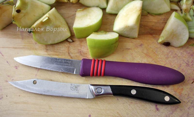 теперь режу яблоки удобным ножиком - на первом плане