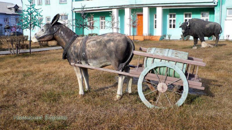 ослик-водовоз  во дворике художественной школы