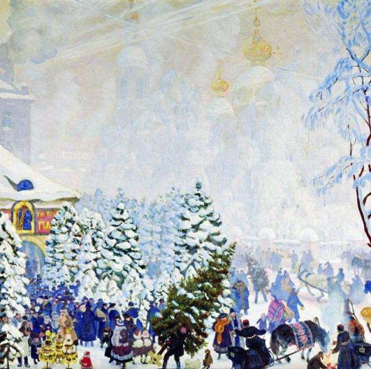"картина Б.Кустодиева ""Ёлочный торг"""