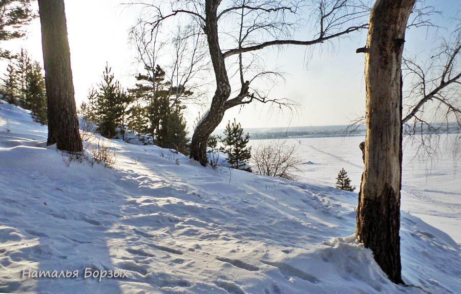 вид с правого берега на замёрзшую Ангару