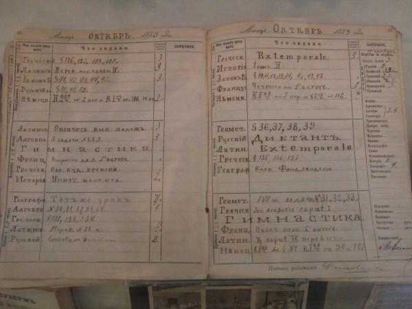 Дневник гимназиста 1889 г.