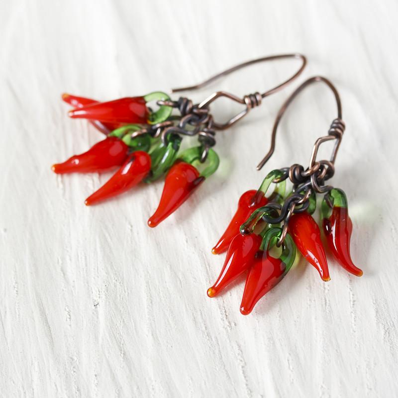 handmade fiery red chili pepper cluster earrings  (1)-800x800