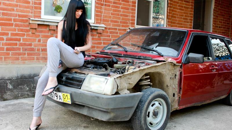 русский секс возле машины ваз