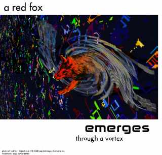 a red fox emerges through a vortex