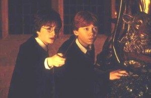 Рон и Гарри подстерегают Крэбба и Гойла