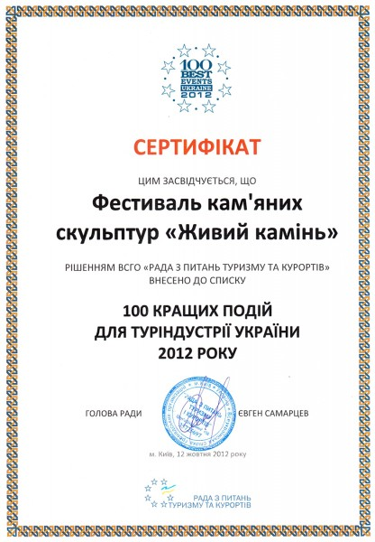 живий каминь сертификат