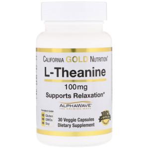 California Gold Nutrition, L-теанин, AlphaWave, способствует расслаблению, успокоению и концентрации, 100 мг, 30 вегетарианских капсул отзывы.jpg