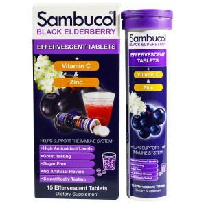 Sambucol, Черная бузина, шипучие таблетки, 15 шипучих таблеток отзывы.jpg