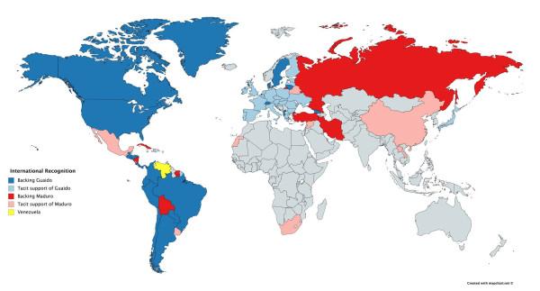 Карта мировой поддержки сторон в Венесуэле