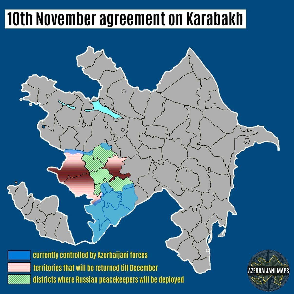 Вчерашние договоренности по Нагорному Карабаху наглядно на карте