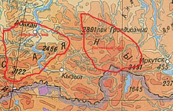 Где на карте находятся горы саяны на карте