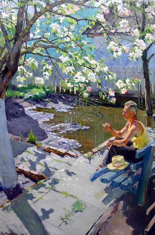 мих богатырев яблоня в цвету 1958 реализм