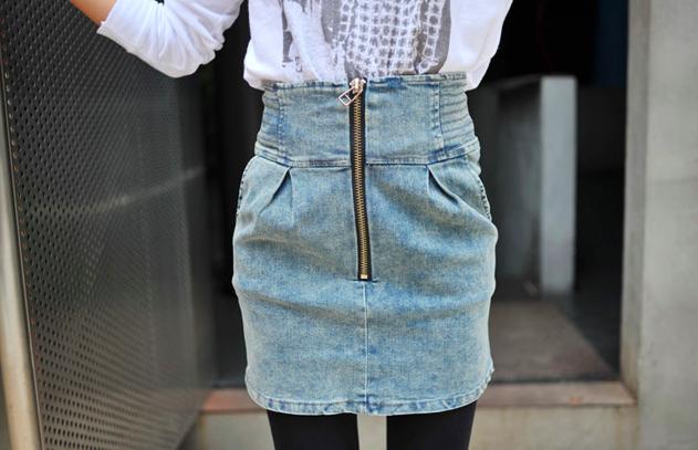 Купить юбку джинсовую с завышенной талией