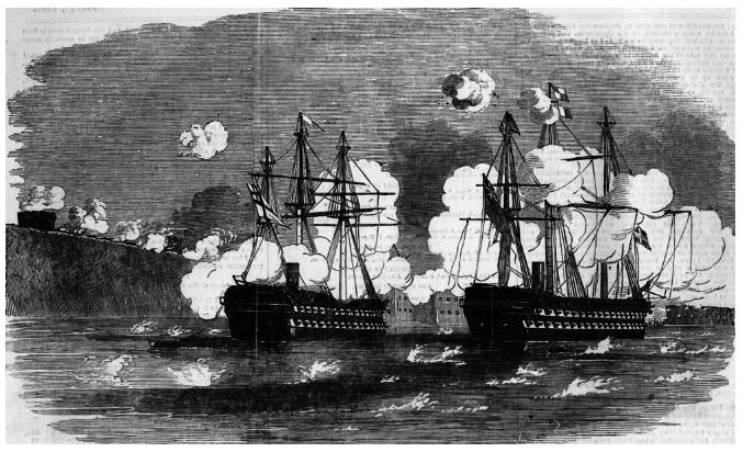 Линейные корабли  HMS «Agamemnon» и HMS «Sans Pareil» в сражении 17 октября 1854 г.