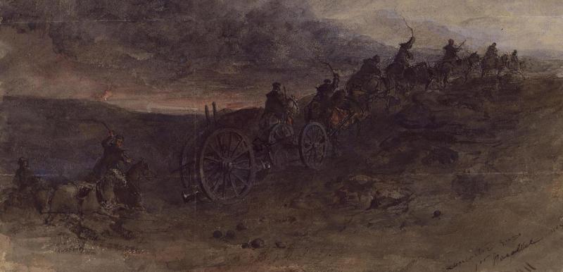 Рисунок Эдварда Альфреда Гудолла запечатлевший перевозку орудия Ланкастера на осадные батареи.