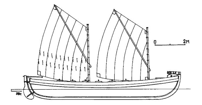 12-вёсельный азовский баркас. Вооружение один 3-фунт. фальконет. Эти баркасы, представляли собой небольшие, но обладающие хорошей мореходностью и вооружённые артиллерией, военные гребные суда, созданные специально для службы на Черноморской береговой линии. Предназначались для перехвата кораблей контрабандистов и поддержания сообщения между укреплениями этой линии. Строились они с 1837 г. Первые серии баркасов изготовлялись в Одессе и Николаеве, а с 1845 г. их выпуск в основном сосредоточился в Редут-Кале. Для службы на них было назначено Азовское казачье Войско, откуда собственно и происходит название этих специализированных судов – «азовские баркасы».