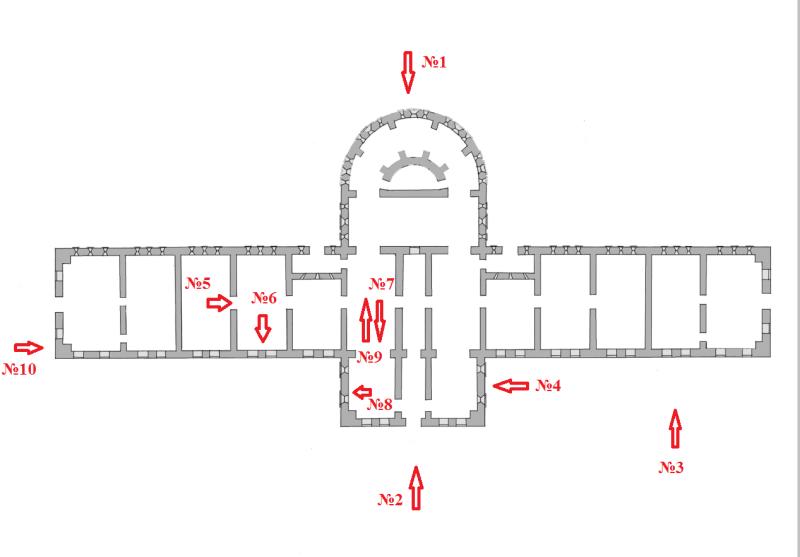 План казармы с указанием мест съемки.