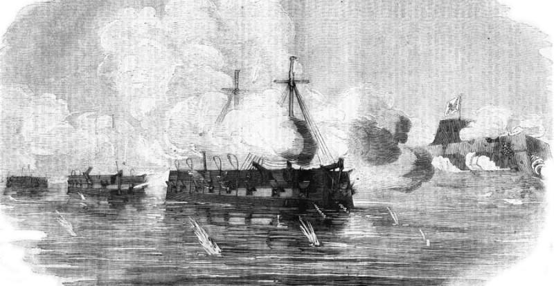Французские бронированные плавающие батареи «Dévastation», «Tonnante» и  «Lave» во время атаки крепости Кинбурн.