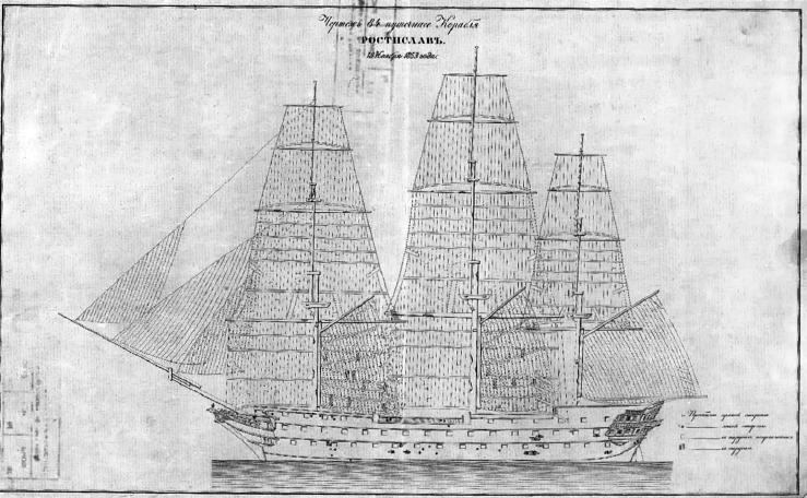 """Схема повреждений корабля """"Ростислав"""" в Синопском сражении."""