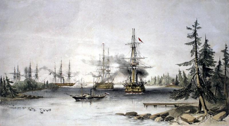 Выдвижение к крепости. За идущим головным HMS «Lightning», следуёт винтовой блокшив HMS «Edinburgh», под флагом командующего отрядом контр-адмирала Х. Д. Чадса.