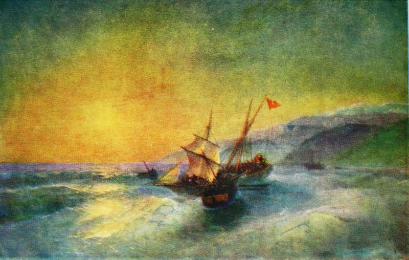 Картина И. К. Айвазовского иллюстрирующая захват азовскими казаками турецкого каботажного судна.