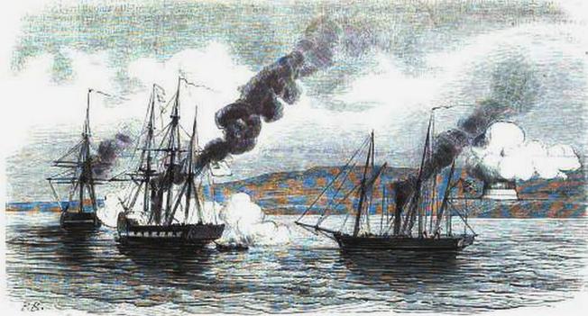 Бомбардировка Джемитейского укрепления. Рисунок из французского журнала «L'Illustration».