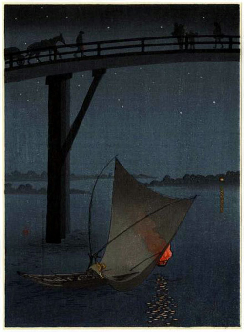 Yoshimuni- Fishing Boat Beneath Ohashi Bridge
