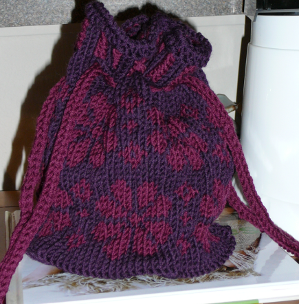 christmas rose fair isle knit bag