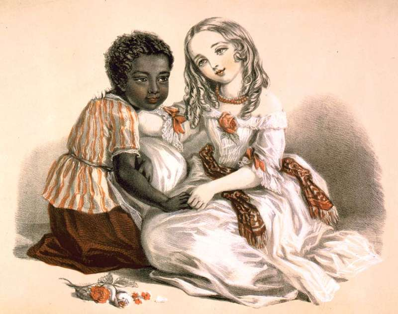 Тopsy (left) and Little Eva, characters from Harriet Beecher Stowe's Uncle Tom's Cabin (1851–52); lithograph by Louisa Corbaux, 1852.Louisa Corbaux/Library of Congress, Washington, D.C. (LC-USZC4-2974)
