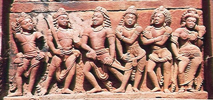 Pandavas_with_Draupadi_OR_ayudhapurushas_facing_Madhu_Kaitabha