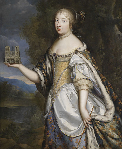 1660 Charles_Beaubrun_Portrait of Queen Maria Theresa of France, as patron of the Cathedral of Notre-Dame de Paris