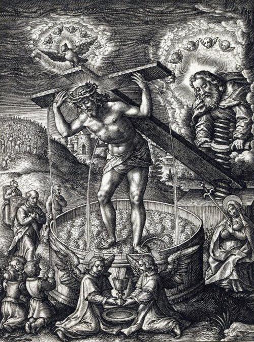 1619 с. Hieronymus Wierix - Christ in the wine press