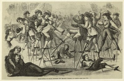 Sham battle on stilts, between two trained parties, at Namur 1870