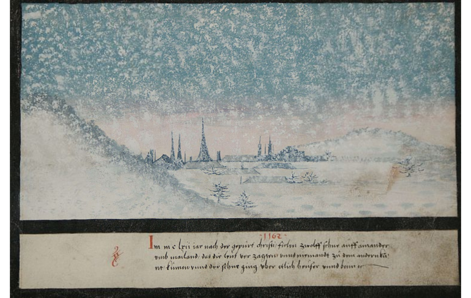 1162 A.D., it snowed twelve times in a row near Milan