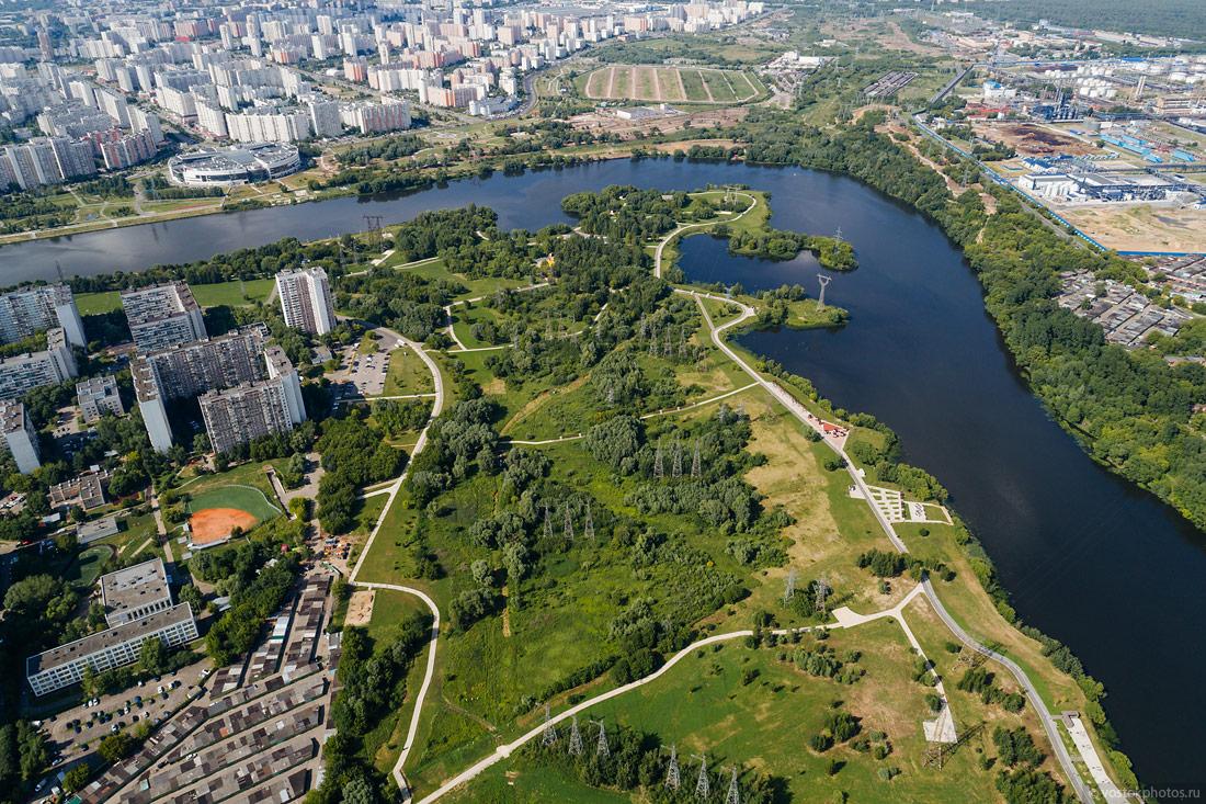 In the park Brateevskaya floodplain there is a baseball stadium