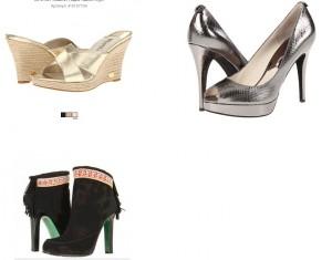 золотые сабо, туфли и сапоги