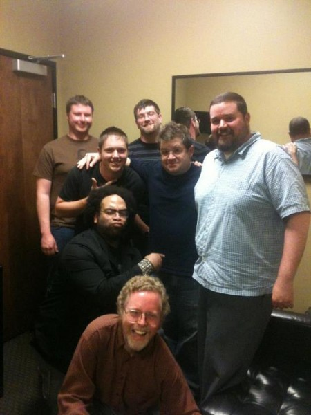 L to R behind me: Keegan Fuller, Trevan Meador, Quinton Gardner (pointing to Patton Oswalt's torso), Joey Crittenden, Patton Oswalt, Ryan Pollard.  Photo by Lisa Wood.