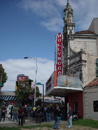 Waiting to enter Hollywood Theater