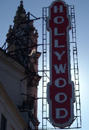 Hollywood sign, backlit