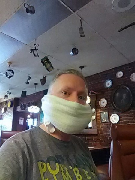 Me, just before removing my mask to eat at My Father's Place