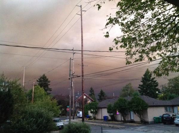 Smoke and ash plume south of Portland, Tuesday Sept 8, 2020