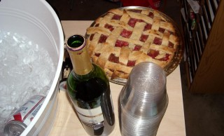 Pie (brought for David by a female fan), wine, and Pabst. ALL PART OF YOUR BALANCED BREAKFAST.