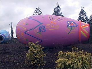 Giant Easter eggs, placed without explanation in Ridgefield, WA, April 2011
