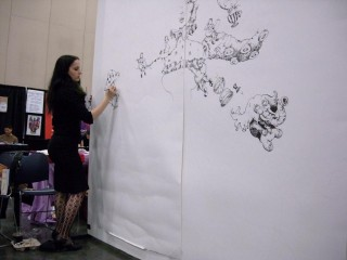 Molly Crabapple, early on in her weekend-long drawing project