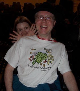 The shirt says 'The notorious salad of doom,' followed by 'skinnywhitechick.com' (S.J. Tucker's website). This is me at the Wonder Northwest convention Sunday, 5/15/2011.
