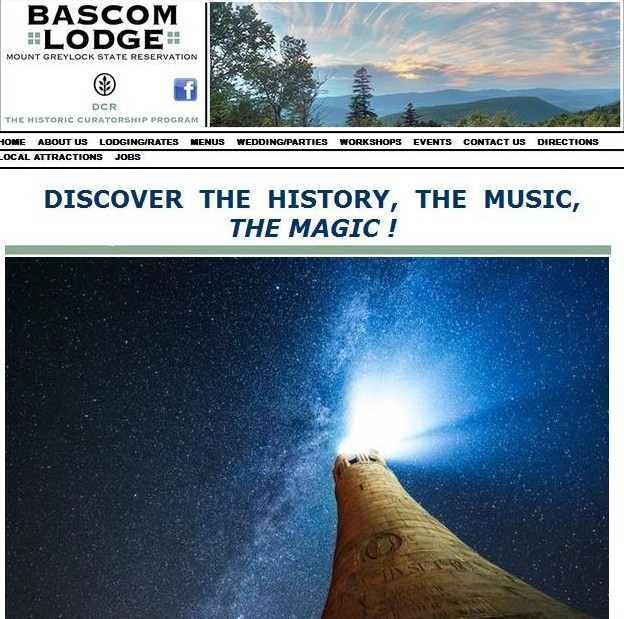 Image of Bascom Lodge website, titled Discover the History, the music, the magic