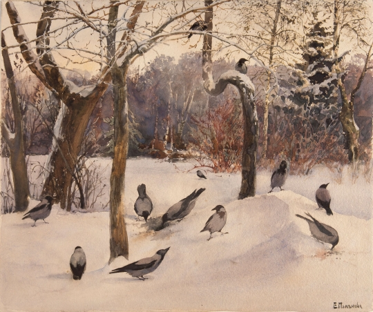 пейзаж с воронами